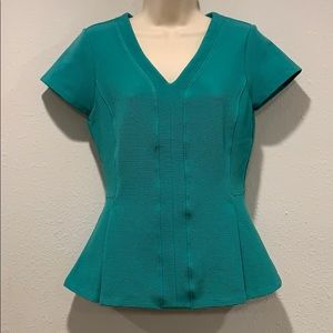 beautiful teal Halogen vneck peplum blouse, SzS